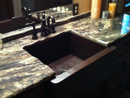 CK7501P35 Copper Farmhouse Sink - Dark Smoke