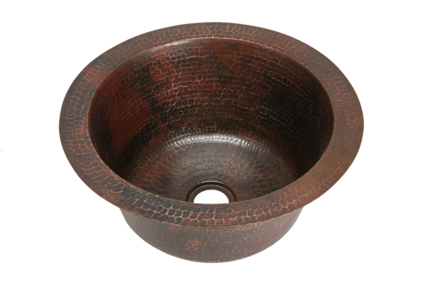 """Picture of 16"""" Round Copper Bar Sink by SoLuna"""