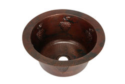 "16"" Round Copper Bar Sink - Grapes by SoLuna"