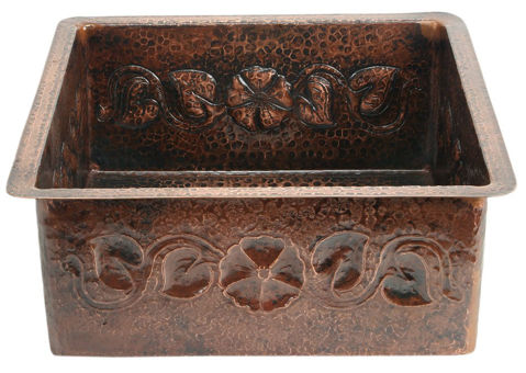 "18"" Square Copper Bar Sink - Floral by SoLuna"