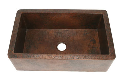 "33"" Single Well Copper Farmhouse Sink by SoLuna"