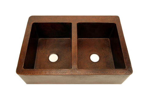 "36"" Copper Farmhouse Sink - 50/50 by SoLuna"