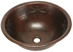 "17"" Round Copper Bathroom Sink - Dragonfly by SoLuna"