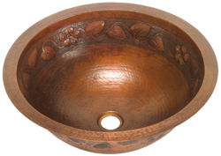"Picture of 17"" Round Copper Bathroom Sink - Floral by SoLuna"