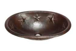 "19"" Oval Copper Bathroom Sink - Texas Star by SoLuna"