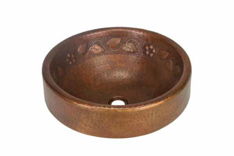 "17"" Prescenio Copper Vessel Sink - Floral by SoLuna"