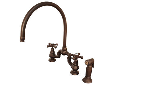 Sonoma Forge   Kitchen Faucet   Brownstone with Large Swivel Spout   Deck Mount
