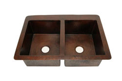 "36"" Double Well Copper Kitchen Sink - 50/50 by SoLuna"