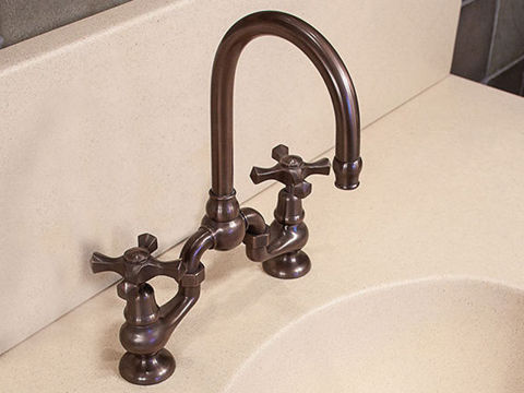 Sonoma Forge   Bathroom Faucet   Brownstone Gooseneck   Deck Mount