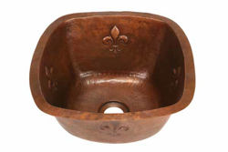 "Picture of 15"" Copper Bar Sink w/Rounded Edge - Fleur de Lis by SoLuna"