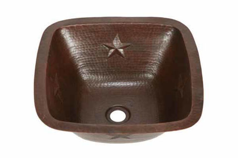 "15"" Copper Bar Sink w/Rounded Edge - Stars by SoLuna"