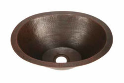 "17.5"" Oval Copper Bar Sink w/Flat Bottom by SoLuna"