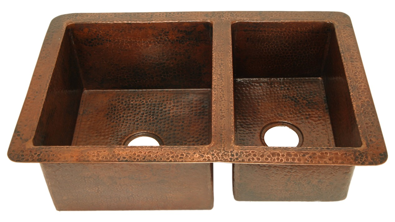 """Picture of 36"""" Double Well Copper Kitchen Sink - 60/40 by SoLuna"""