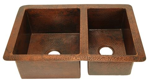 """36"""" Double Well Copper Kitchen Sink - 60/40 by SoLuna"""