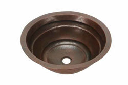 "17"" Round Copper Bathroom Sink - Rings by SoLuna"