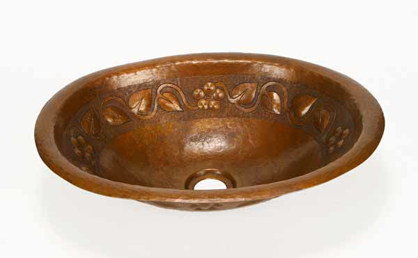 "Picture of 15"" Oval Copper Bathroom Sink - Floral by SoLuna"