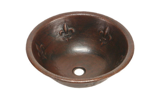 "Picture of 17"" Round Copper Bathroom Sink - Fleur de Lis by SoLuna"