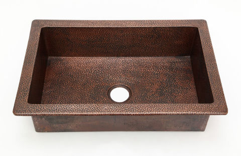 "33"" Raised Rim Copper Kitchen Sink by SoLuna"