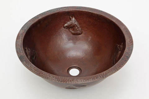 "17"" Round Copper Bath Sink - Horse by SoLuna"