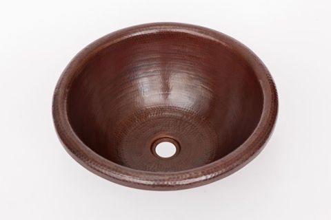 "17"" Rimmed Round Copper Bathroom Sink by SoLuna"