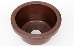 "Picture of 16"" Rimmed Round Copper Prep Sink by SoLuna"
