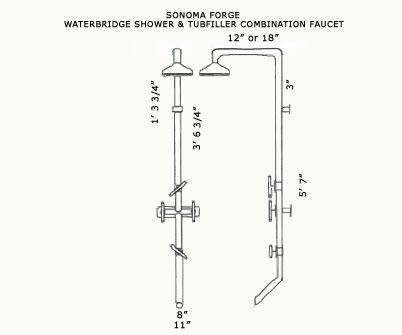 Picture of Sonoma Forge   Outdoor Shower   Waterbridge 870 with Tub Filler