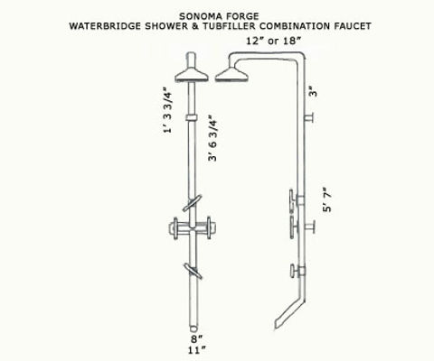 Sonoma Forge   Outdoor Shower   Waterbridge 870 with Tub Filler