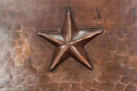 """Picture of 17"""" Round Copper Bathroom Sink - Stars by SoLuna"""
