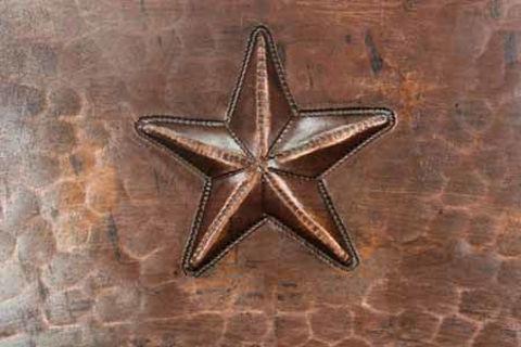 "17"" Round Copper Bathroom Sink - Stars by SoLuna"