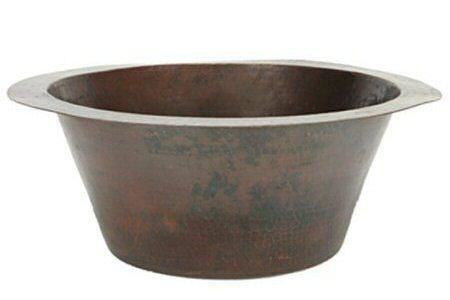 "Picture of 19"" Flat Bottom Round Copper Bar Sink by SoLuna"