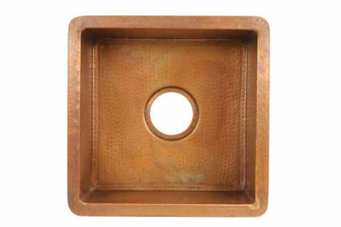 Square Copper Prep or Bar Sink