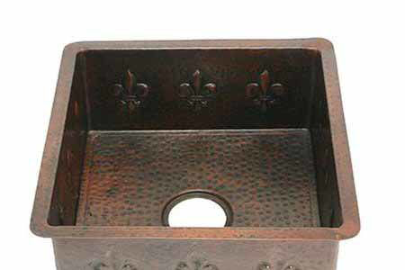 Picture of Large Square Copper Prep Sink - Fleur de Lis
