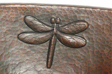 "Picture of 19"" Oval Copper Bathroom Sink - Dragonfly by SoLuna"