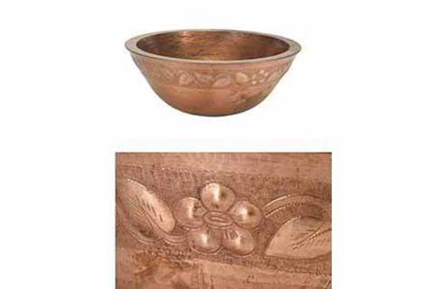 "18"" Colina Copper Vessel Sink - Floral by SoLuna"