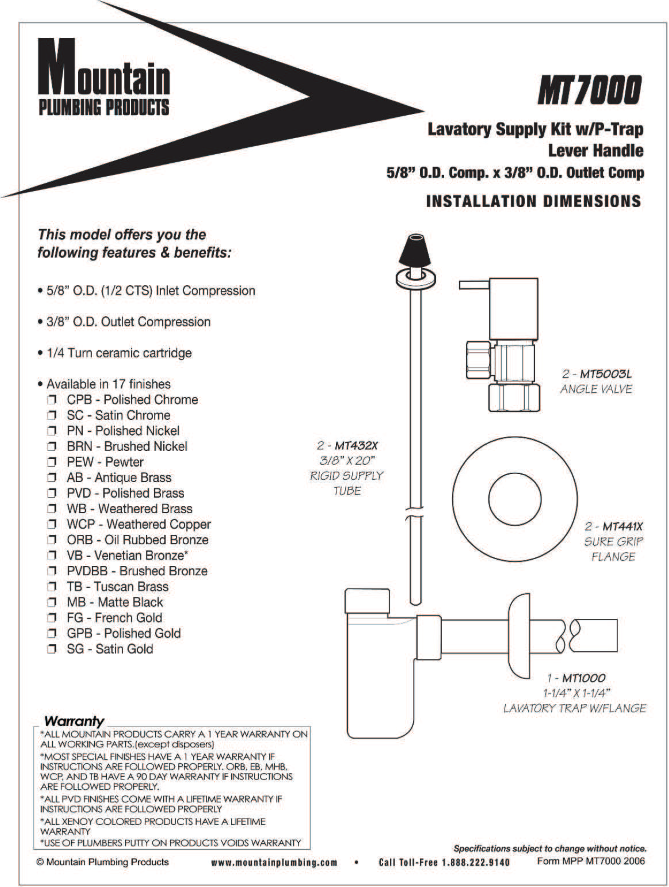 Picture of Decorative Lavatory Supply Kit w/Trap
