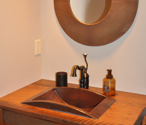 "20.5"" Curved Trough Copper Bathroom Sink by SoLuna"