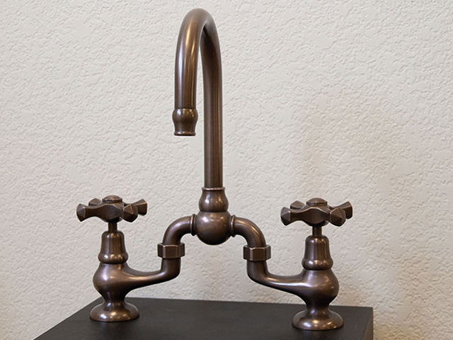 Picture of Sonoma Forge   Bathroom Faucet   Brownstone Gooseneck   Deck Mount