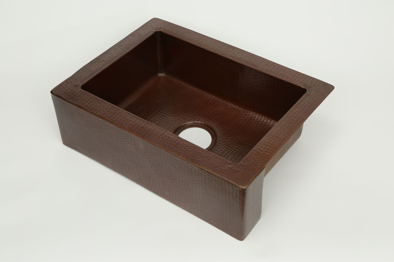 "Picture of 22"" Single Well Copper Farmhouse Sink by SoLuna"