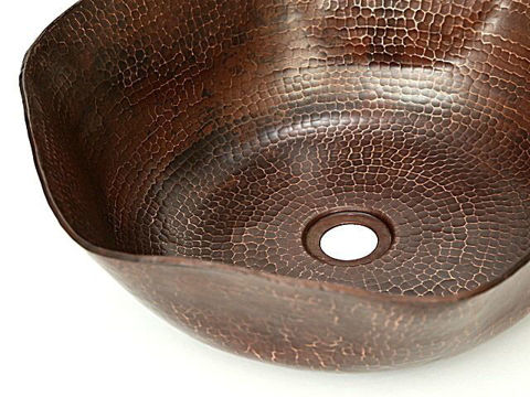 "16"" Rippled Copper Vessel Sink by SoLuna"