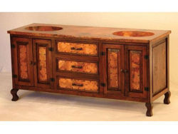 Rio Hermoso Wood and Copper Vanity