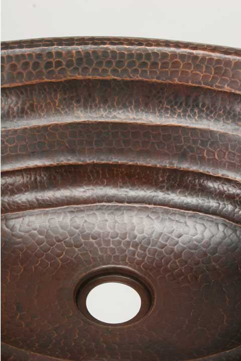 "Picture of 19"" Oval Copper Bathroom Sink - Rings by SoLuna"
