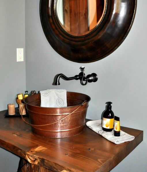 "Picture of 16"" Bucket Copper Vessel Sink by SoLuna"