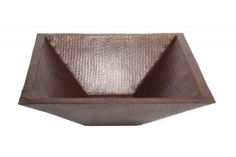 "SALE 20"" Pyramidal Tapered Copper Vessel Sink in Dark Smoke"