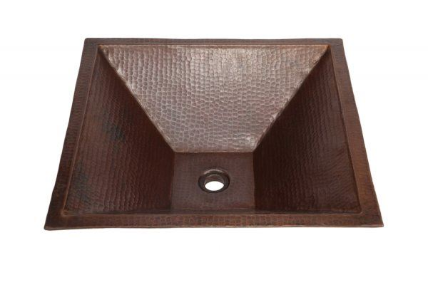 """Picture of SALE 20"""" Pyramidal Tapered Copper Vessel Sink in Dark Smoke"""