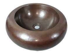 """Picture of SALE 18"""" Platillo Double-Wall Copper Bath Sink in Dark Smoke"""