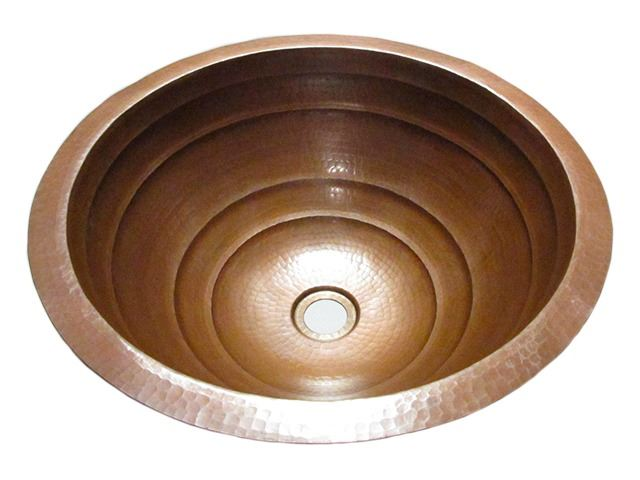"""Picture of SALE 17"""" Large Round Rings Design Copper Sink in Cafe Natural"""