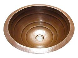 "Picture of SALE 17"" Large Round Rings Design Copper Sink in Cafe Natural"