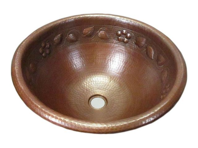 Picture of SALE Large Round Floral Vine Design Copper Sink in Cafe Natural with Rolled Rim