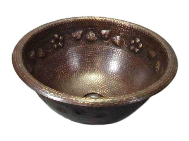 Picture of SALE Large Round Floral Vine Design Copper Sink in Rio Grande with Rolled Rim