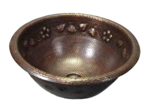 SALE Large Round Floral Vine Design Copper Sink in Rio Grande with Rolled Rim